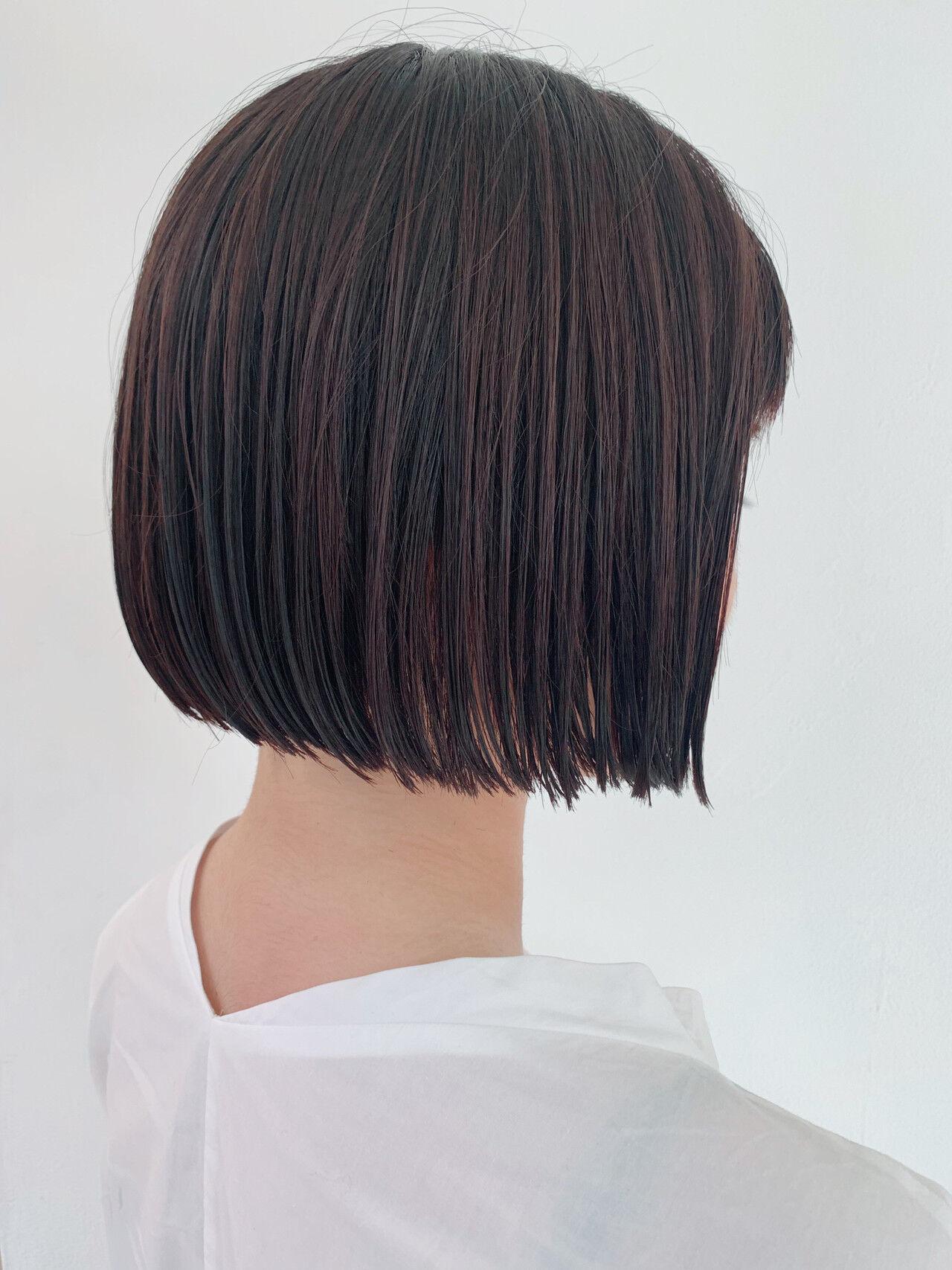 ナチュラル 暗髪 ボブ ミニボブヘアスタイルや髪型の写真・画像