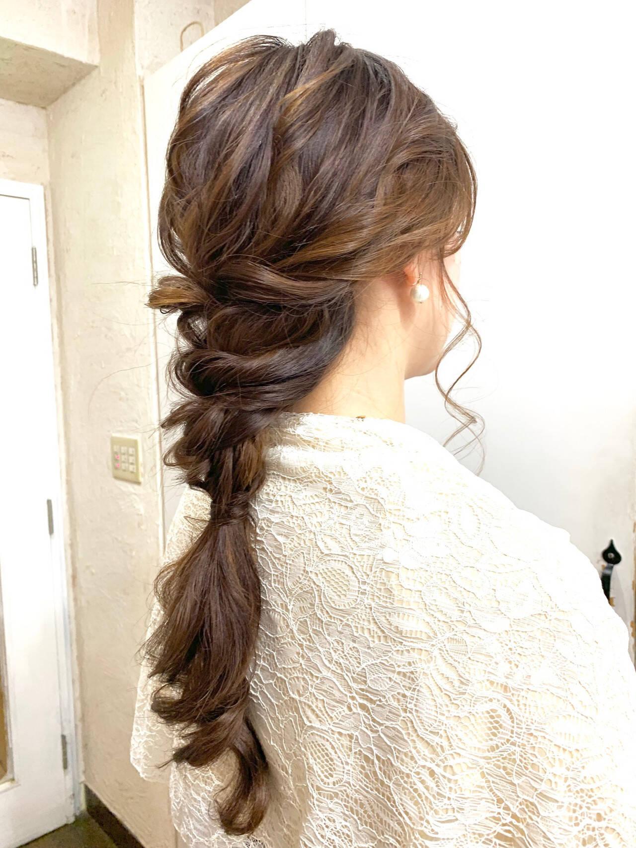 ヘアアレンジ 編みおろしヘア ナチュラル 編みおろしヘアスタイルや髪型の写真・画像