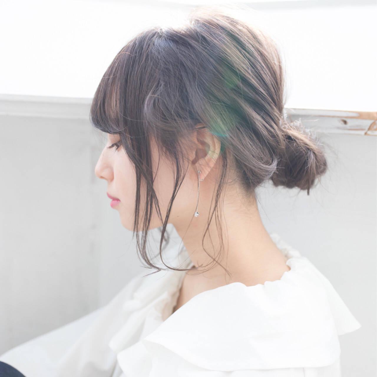 デート 結婚式 ミディアム 簡単ヘアアレンジヘアスタイルや髪型の写真・画像