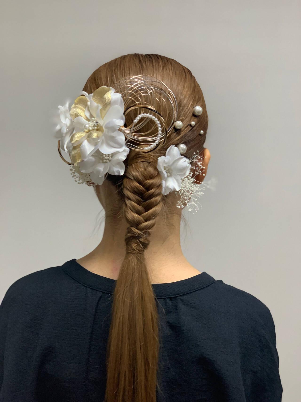 結婚式ヘアアレンジ ブリーチカラー ヘアアレンジ ポニーテールアレンジヘアスタイルや髪型の写真・画像