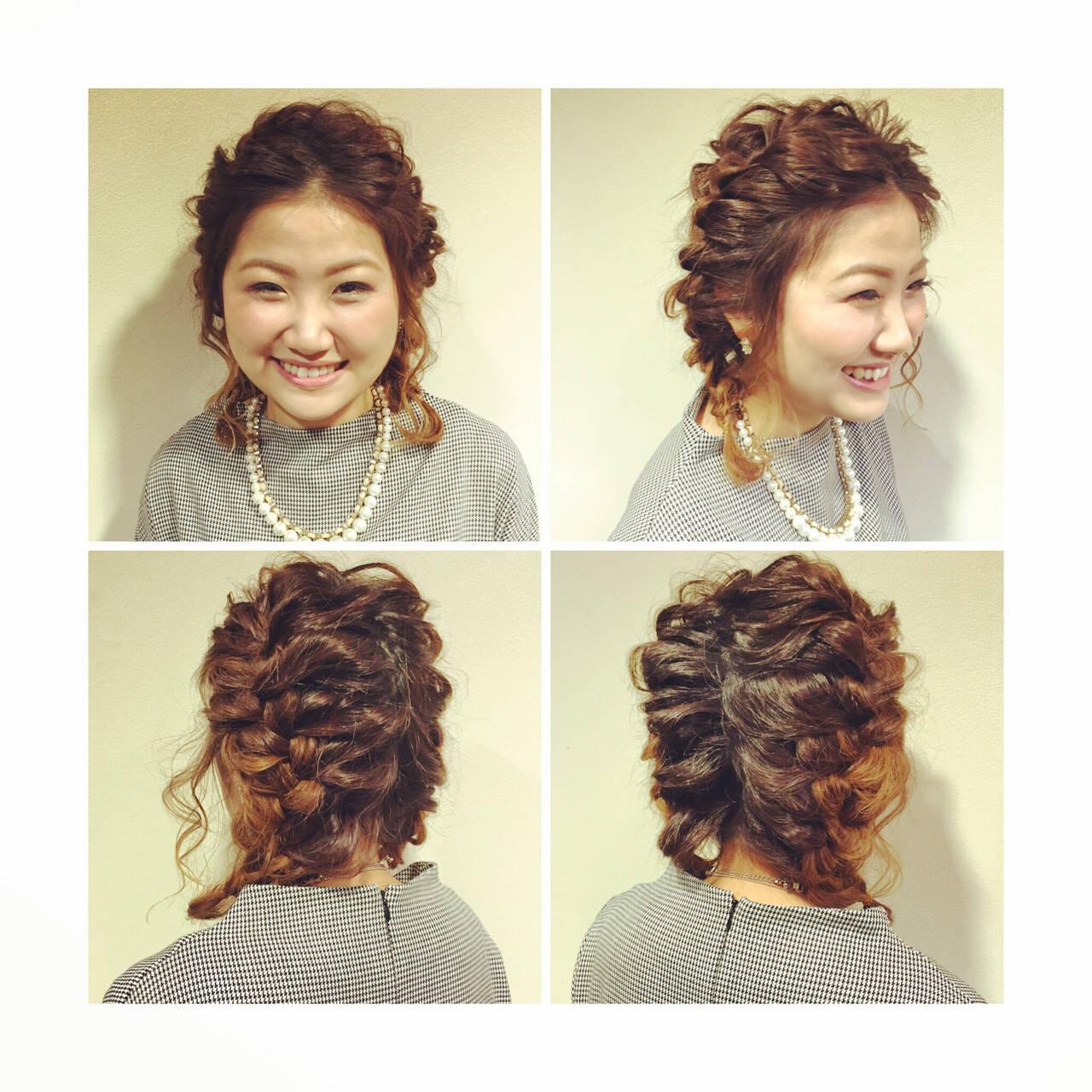 編み込み ヘアアレンジ 三つ編み ボブヘアスタイルや髪型の写真・画像