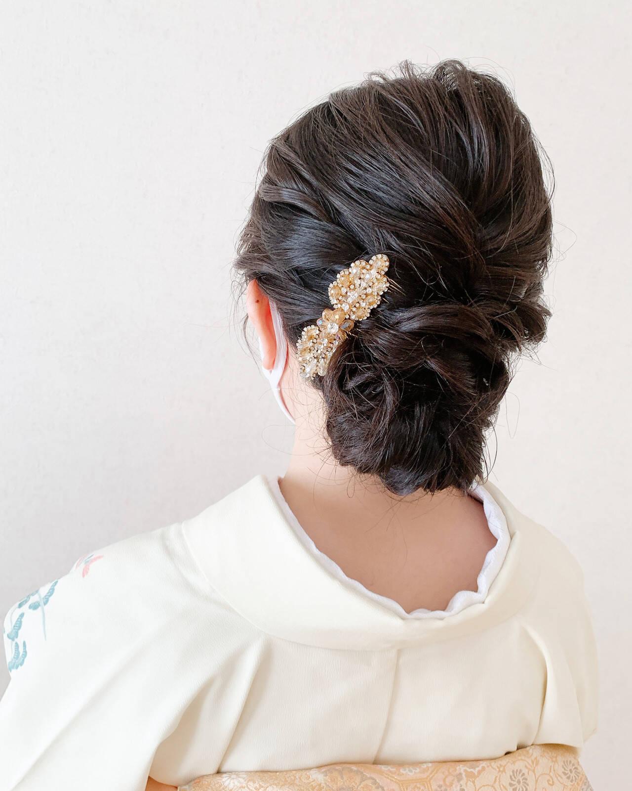 ミディアム 着物 エレガント 和装ヘアヘアスタイルや髪型の写真・画像
