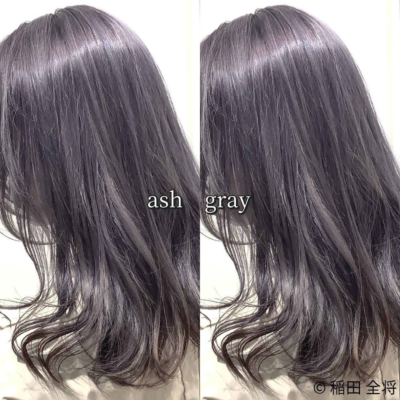 ストリート ヘアカラー グラデーション グレーアッシュヘアスタイルや髪型の写真・画像