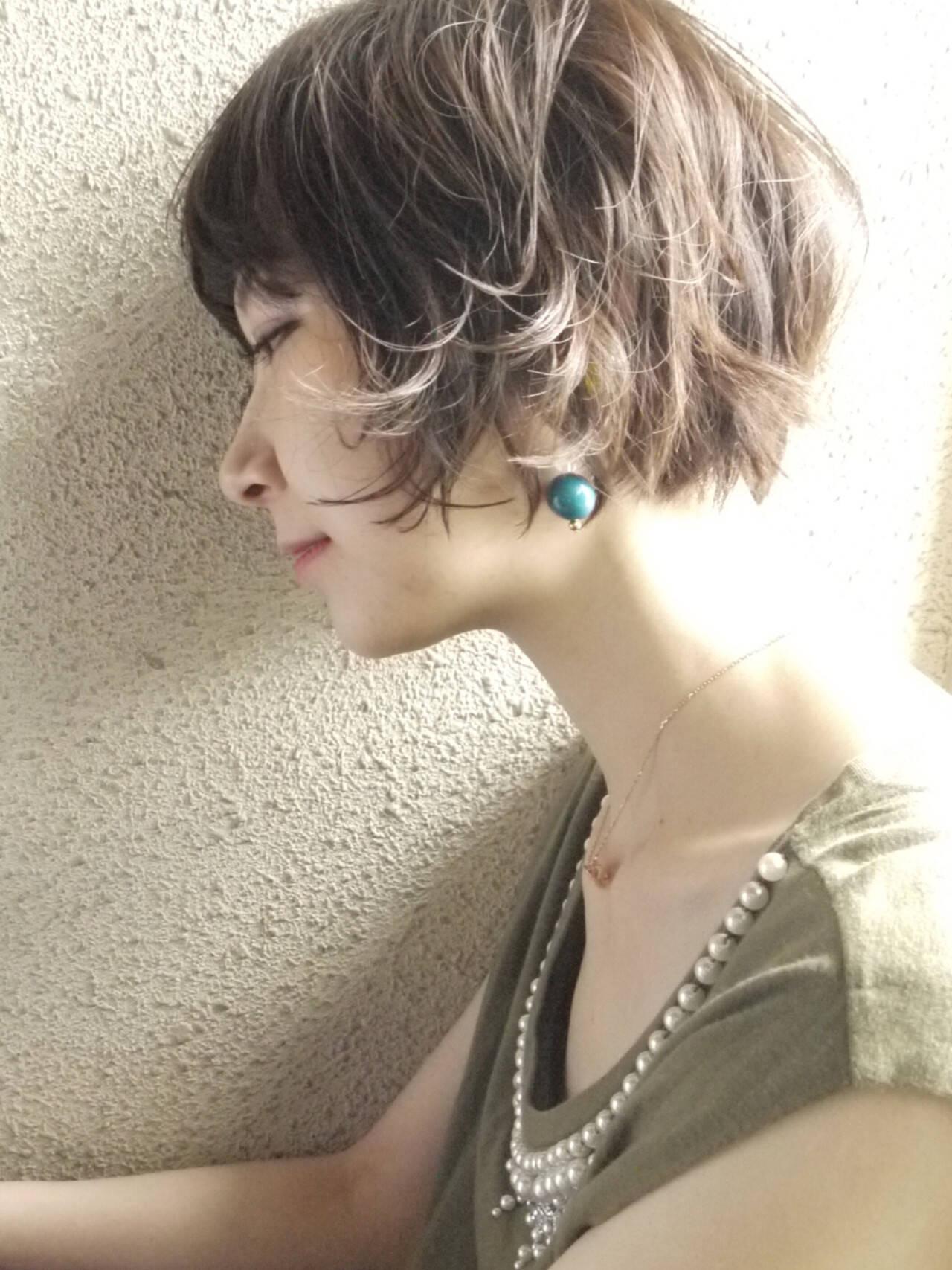 エレガント 小顔 ショート ゆるふわヘアスタイルや髪型の写真・画像
