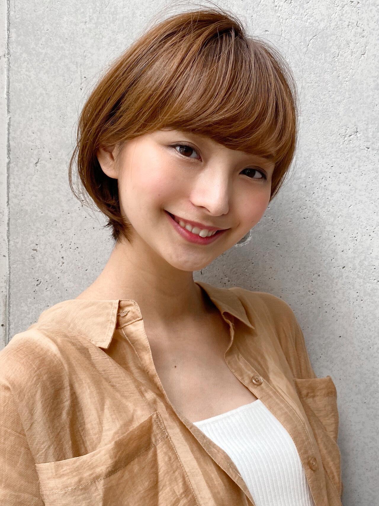 ショートヘア ひし形 丸みショート ショートヘアスタイルや髪型の写真・画像
