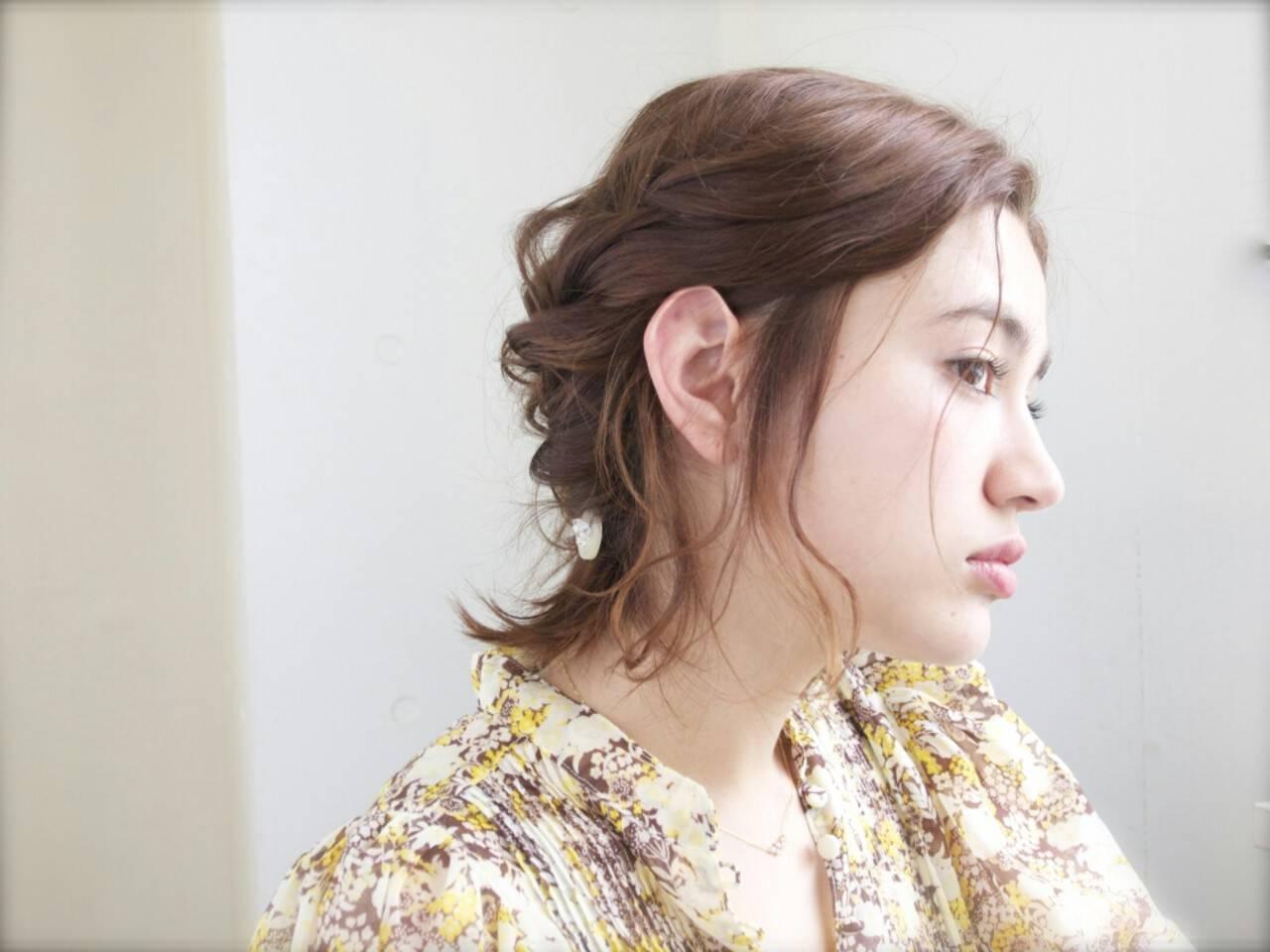 ハーフアップ ショート 外国人風 簡単ヘアアレンジヘアスタイルや髪型の写真・画像