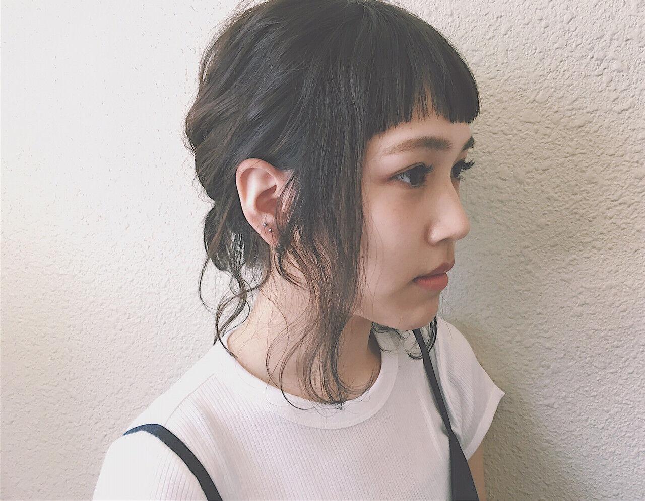 簡単ヘアアレンジ ショート ワイドバング 前髪ありヘアスタイルや髪型の写真・画像