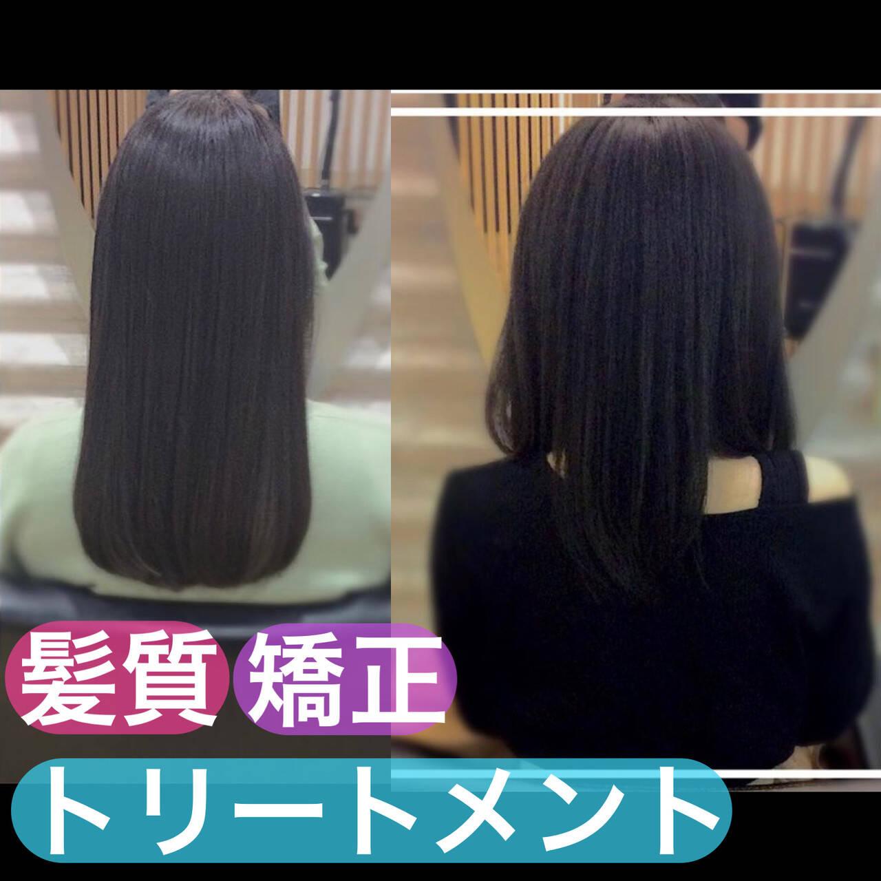 うる艶カラー 髪質改善 大人ロング セミロングヘアスタイルや髪型の写真・画像