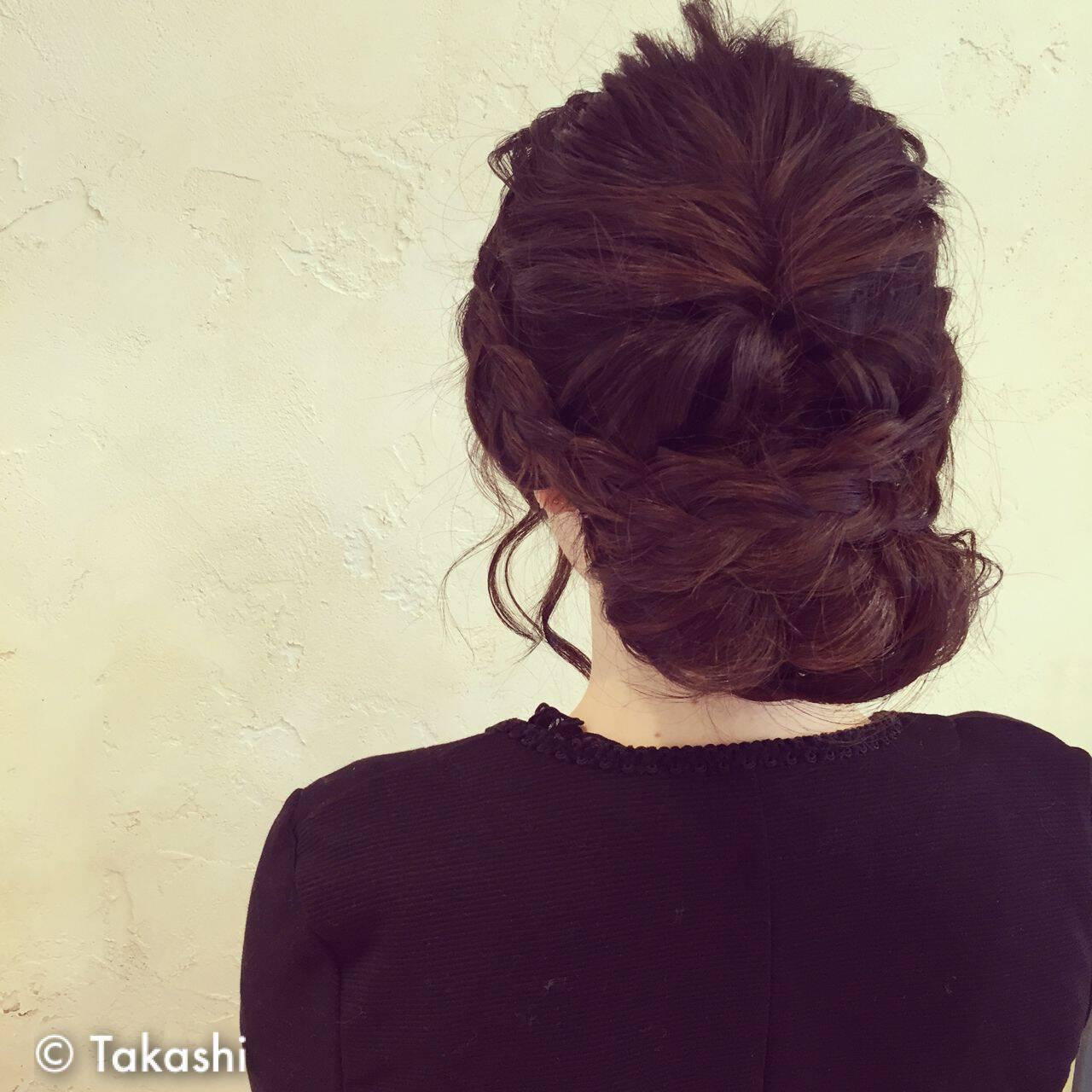 編み込み モテ髪 まとめ髪 ゆるふわヘアスタイルや髪型の写真・画像