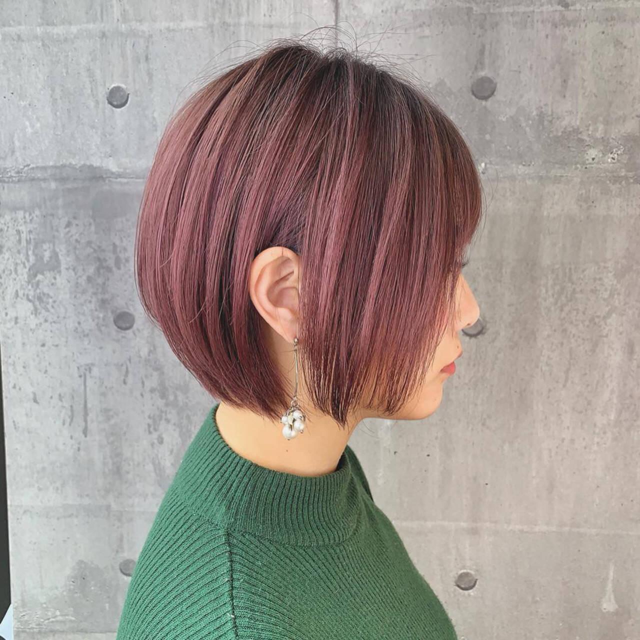 イルミナカラー 簡単ヘアアレンジ ヘアカラー ショートヘアスタイルや髪型の写真・画像