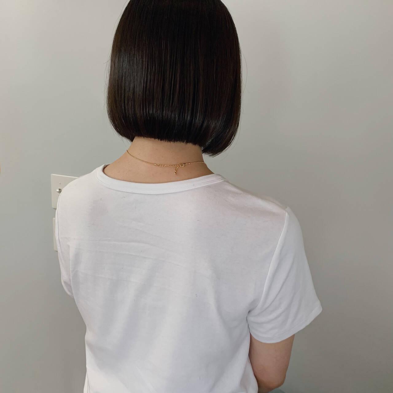 モード ボブアレンジ ストレート 黒髪ヘアスタイルや髪型の写真・画像
