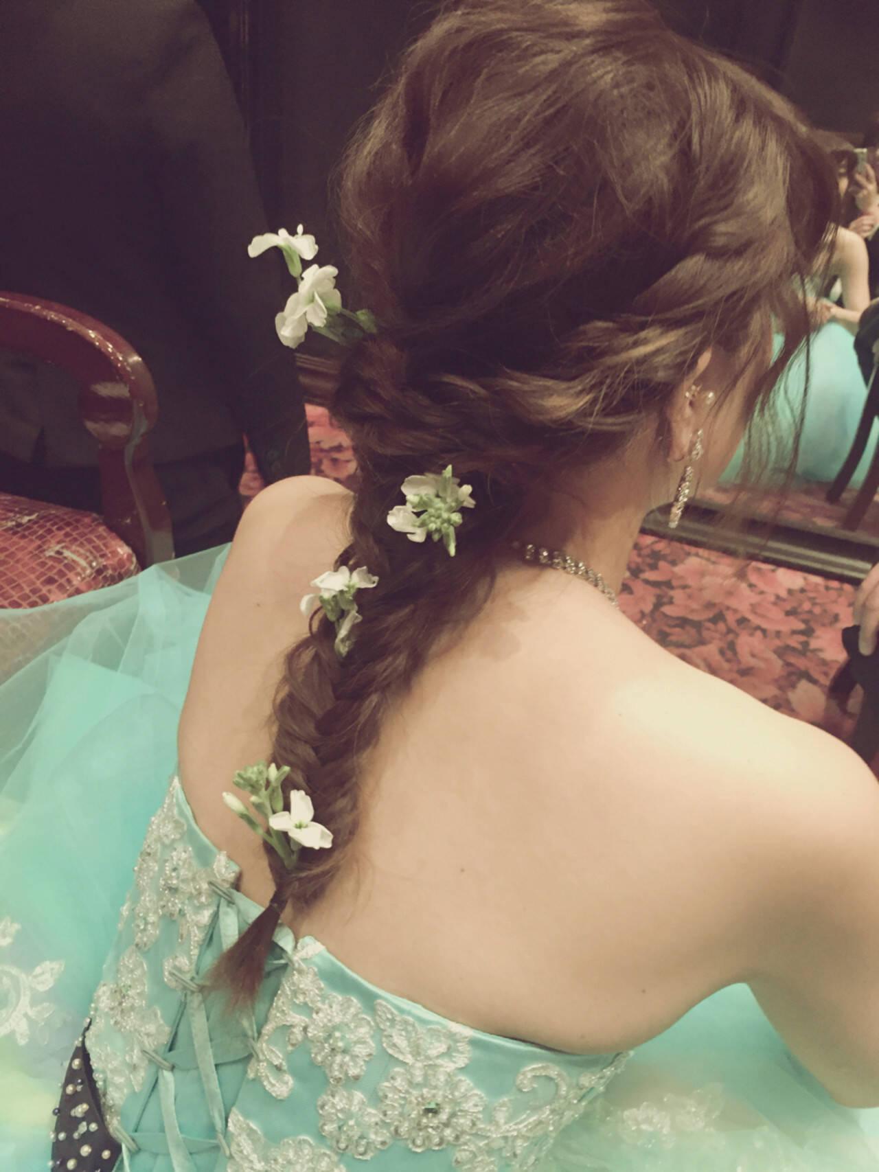 編み込み 花嫁 ヘアアレンジ ロングヘアスタイルや髪型の写真・画像