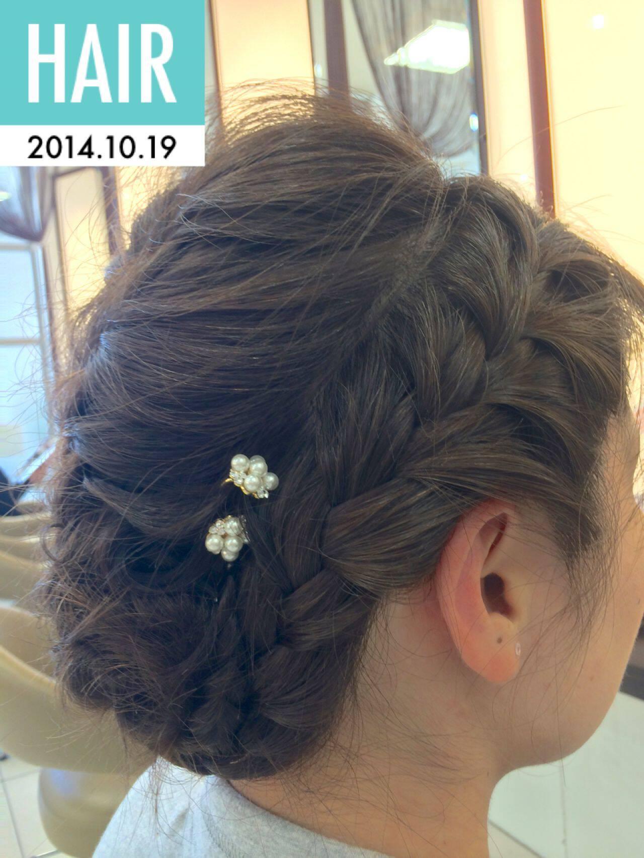 編み込み 三つ編み ヘアアレンジ ナチュラルヘアスタイルや髪型の写真・画像