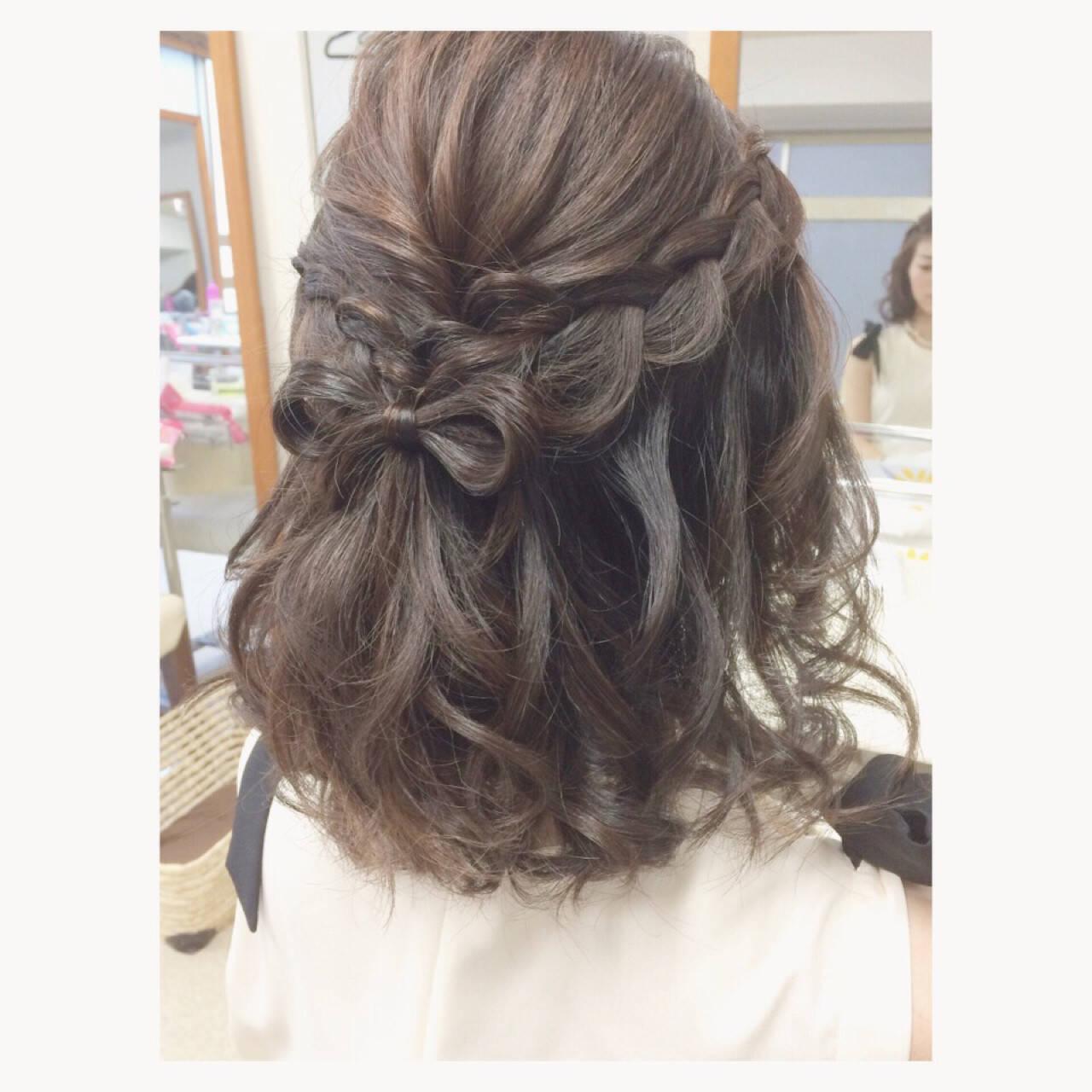 ミディアム ゆるふわ フェミニン ハーフアップヘアスタイルや髪型の写真・画像