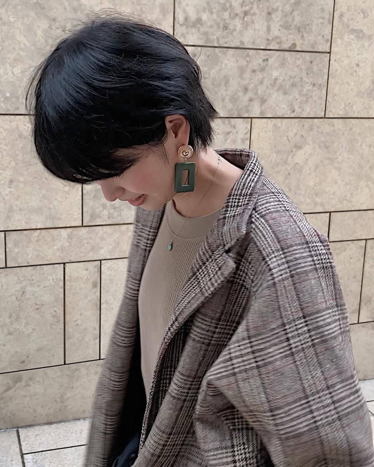 ショート 黒髪 ハンサムショート ショートヘアヘアスタイルや髪型の写真・画像