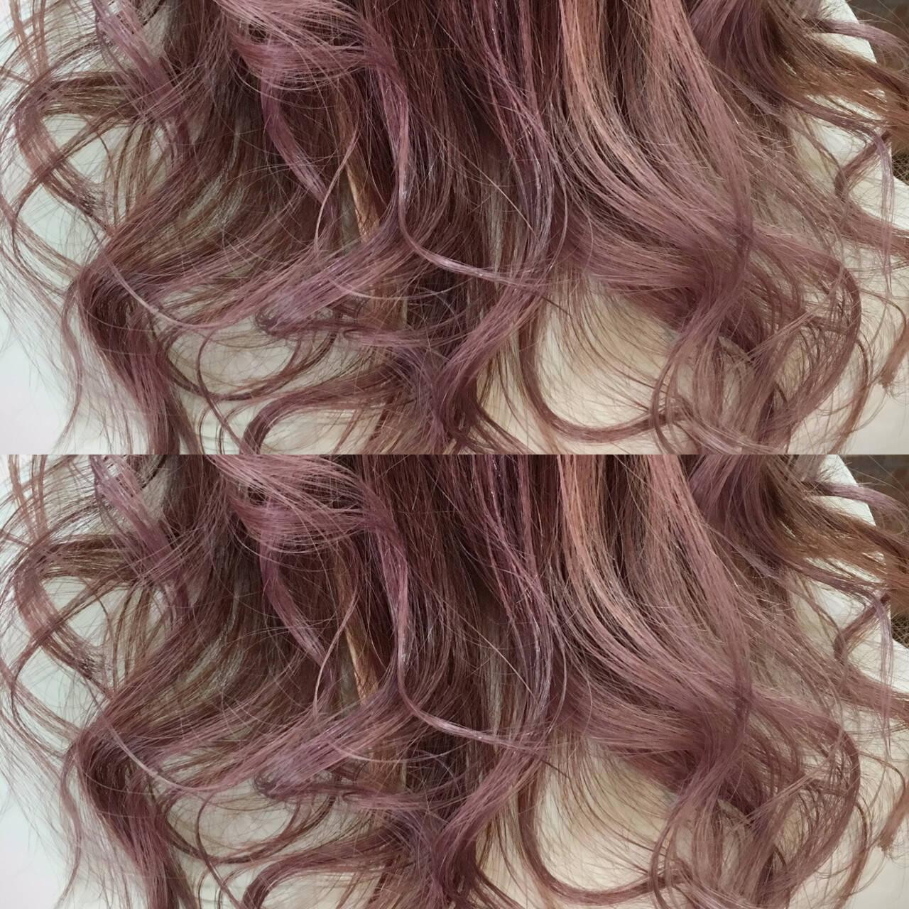 ロング ピンク ハイライト モードヘアスタイルや髪型の写真・画像