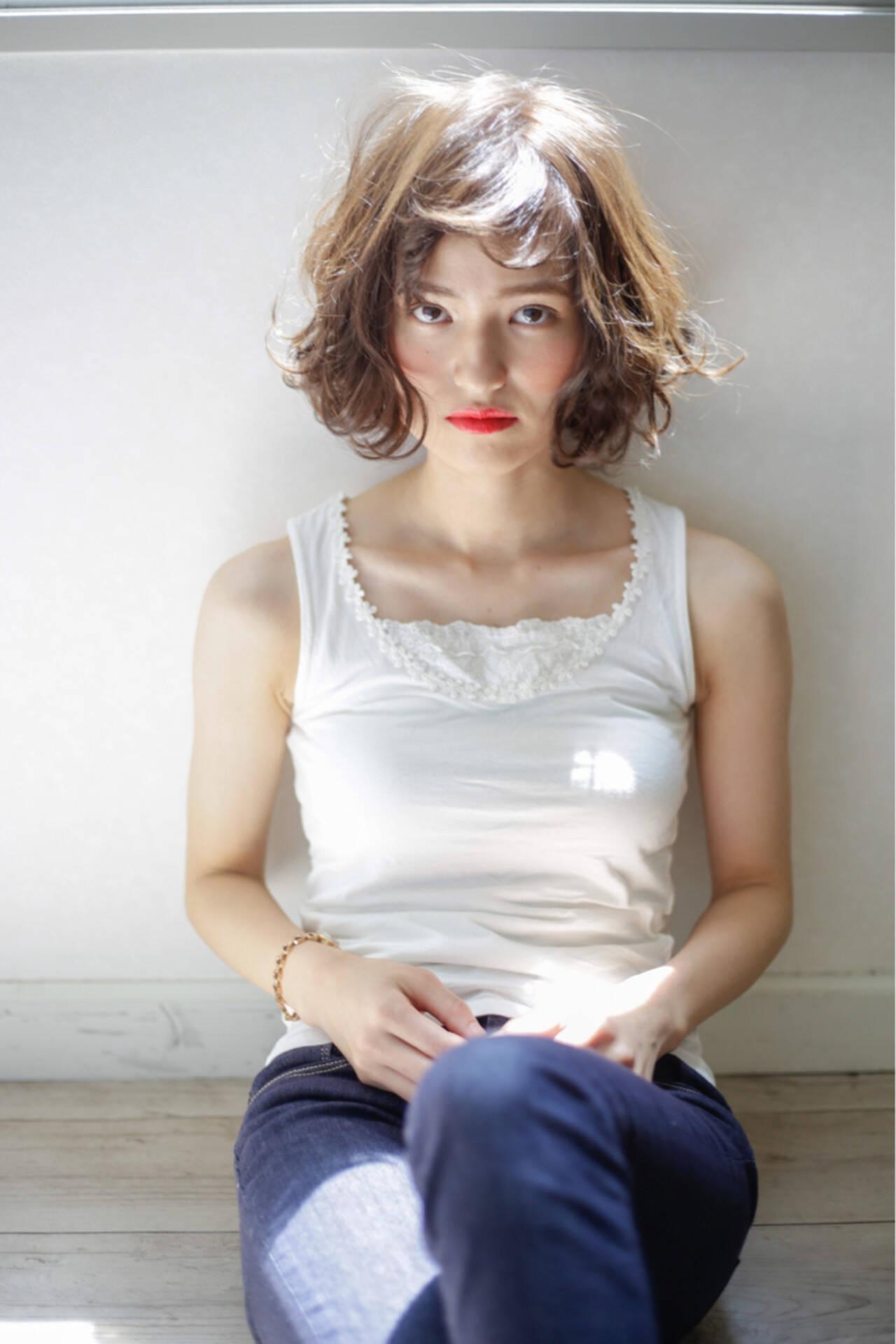 ゆるふわ ミディアム 外国人風 グラデーションカラーヘアスタイルや髪型の写真・画像