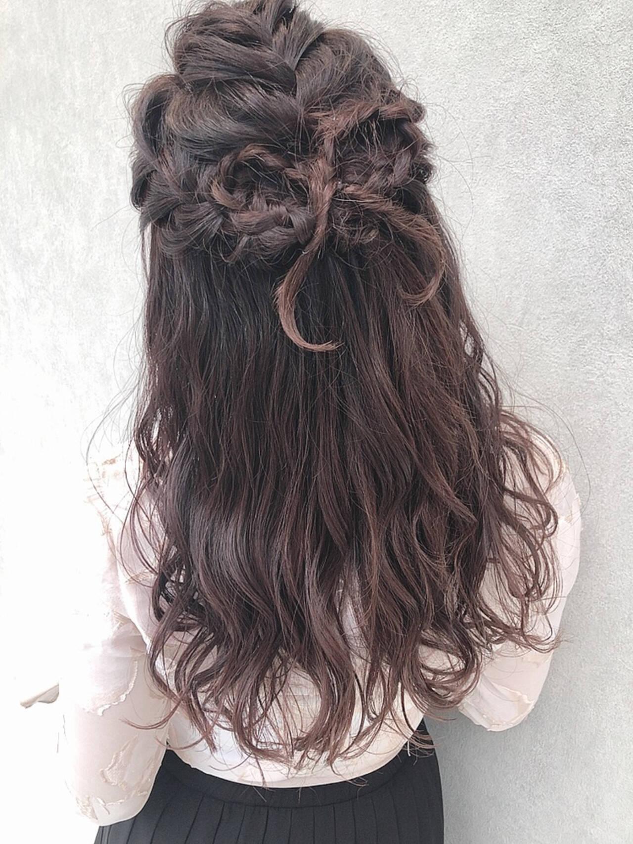 デート セミロング 成人式 簡単ヘアアレンジヘアスタイルや髪型の写真・画像