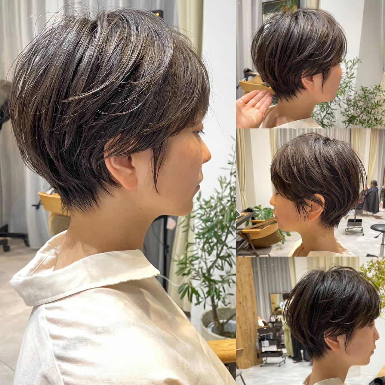 ショートボブ ナチュラル ショート ショートヘアヘアスタイルや髪型の写真・画像