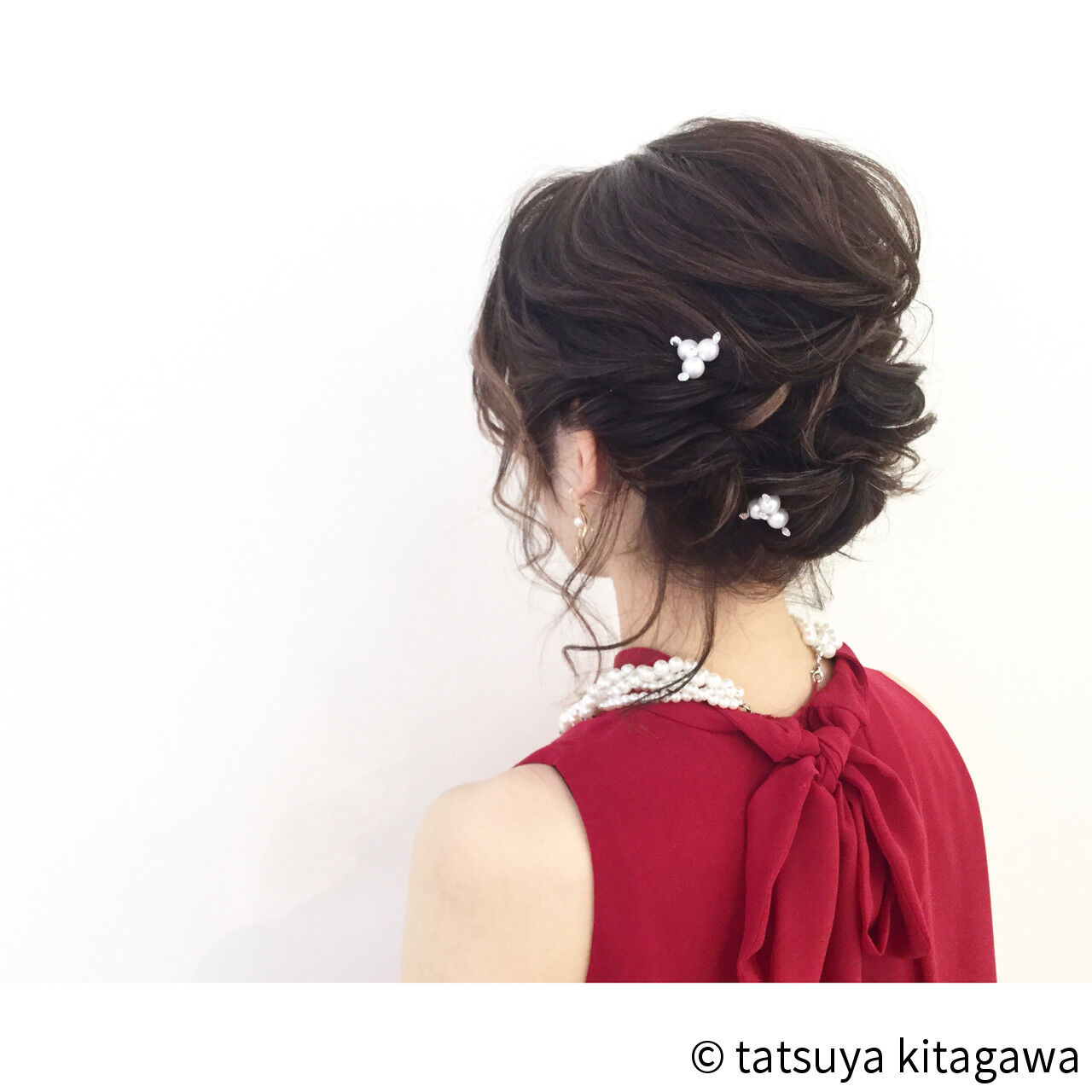 花嫁 ハイライト ミディアム 結婚式ヘアスタイルや髪型の写真・画像