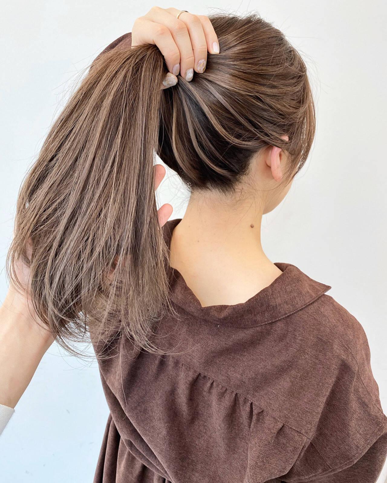 ミルクティーアッシュ ベージュ ハイライト ミルクティーベージュヘアスタイルや髪型の写真・画像