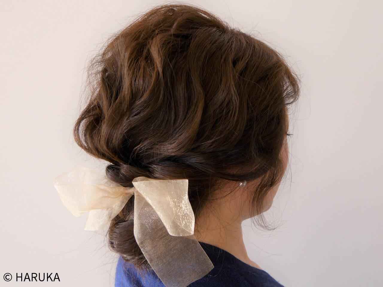 簡単ヘアアレンジ ヘアアレンジ セミロング ゆるふわヘアスタイルや髪型の写真・画像