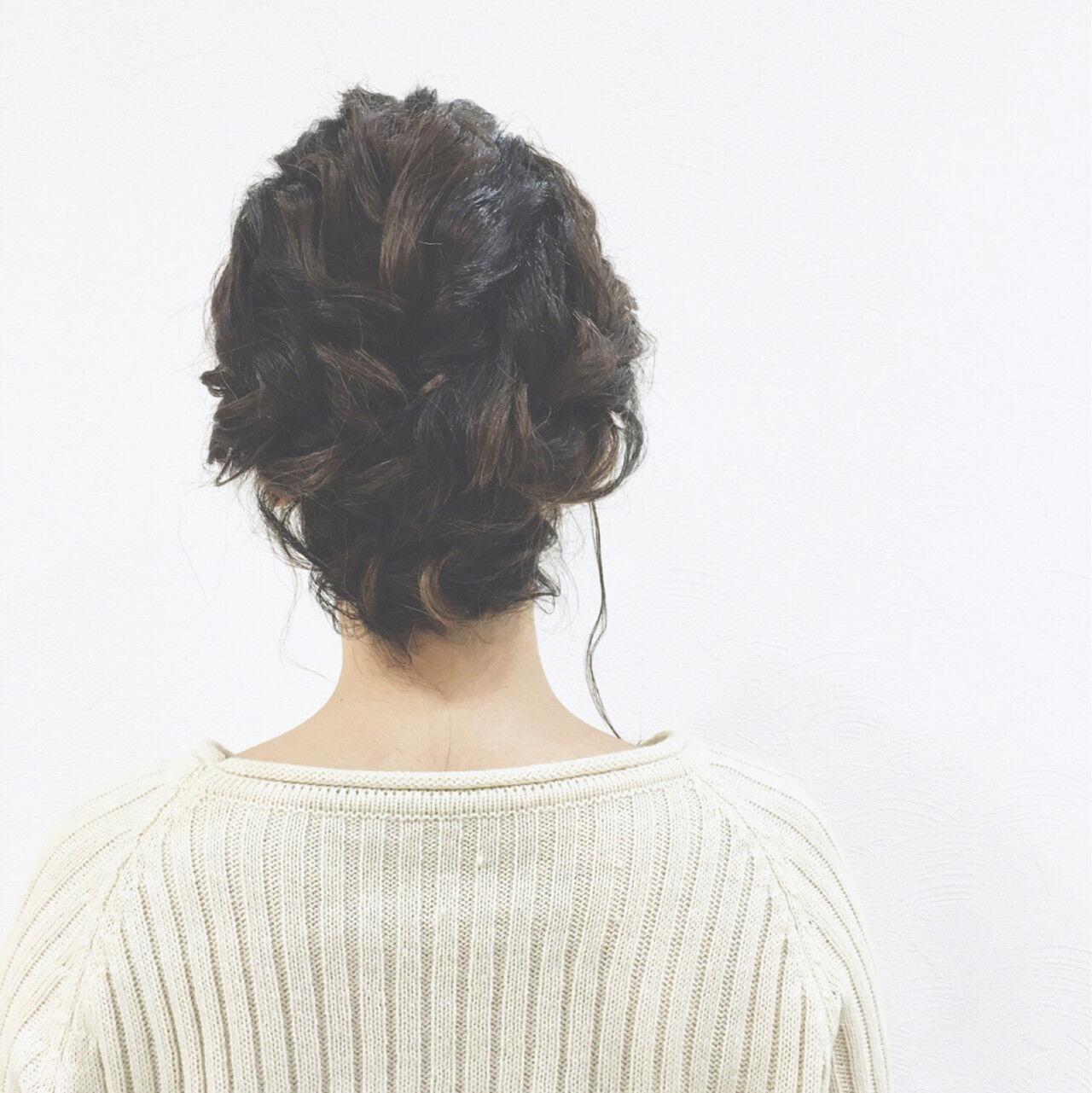 三つ編み くるりんぱ 簡単ヘアアレンジ ヘアアレンジヘアスタイルや髪型の写真・画像