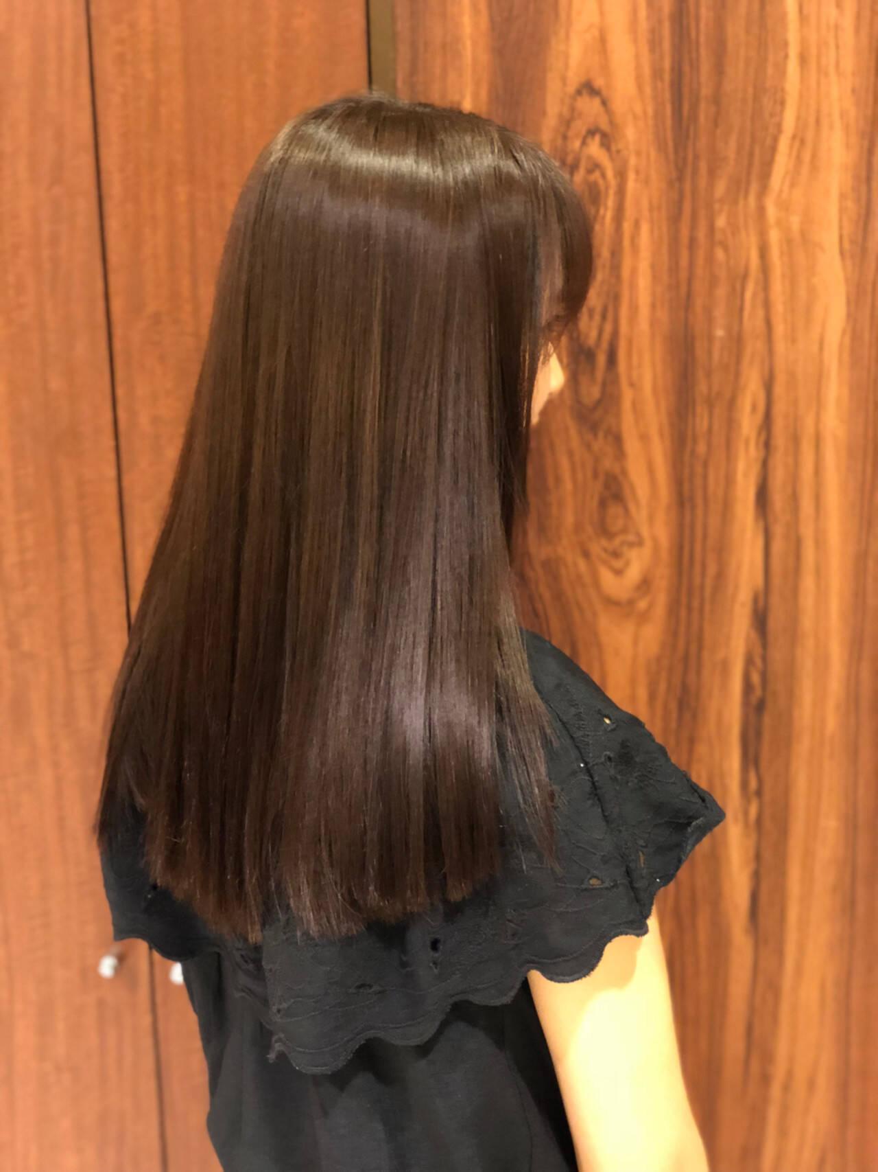 セミロング ロブ ストレート パーマヘアスタイルや髪型の写真・画像