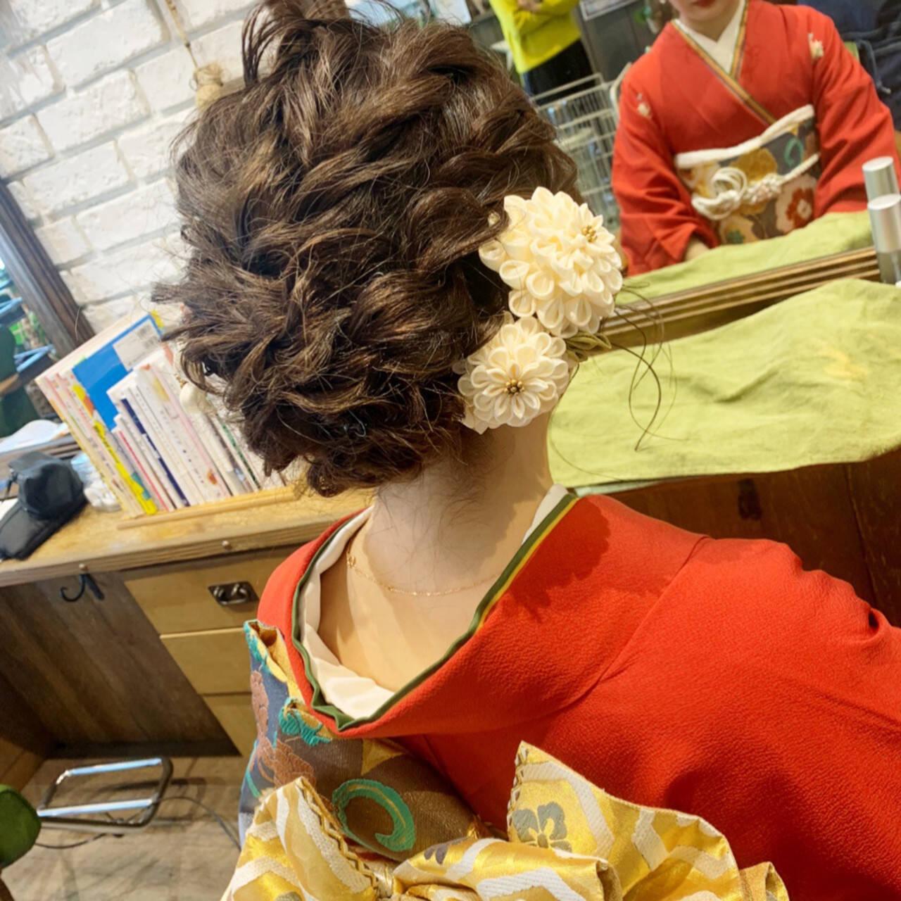 成人式 ミディアム 和装ヘア エレガントヘアスタイルや髪型の写真・画像