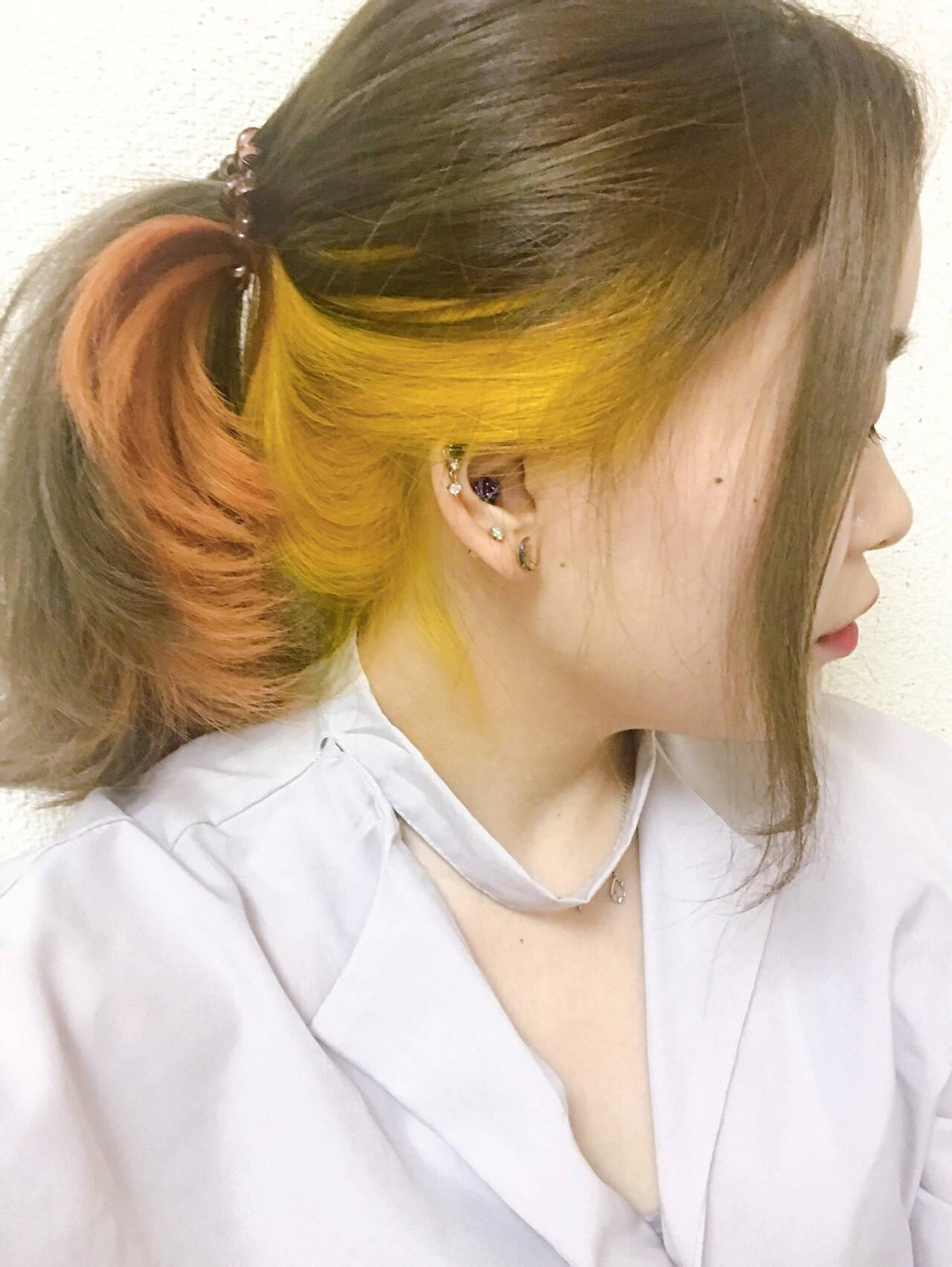 グラデーション ガーリー インナーカラー ハイトーンヘアスタイルや髪型の写真・画像
