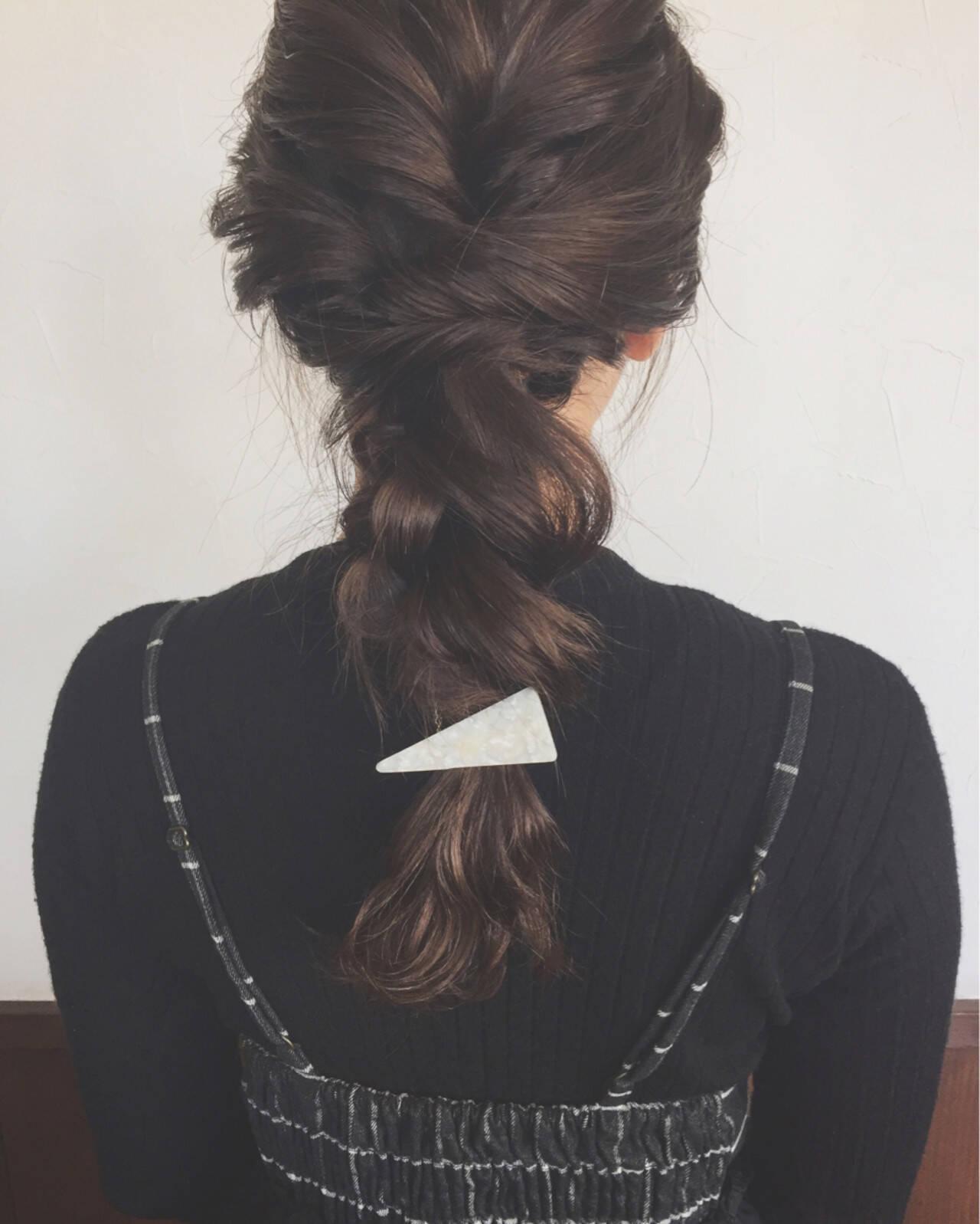 結婚式 簡単ヘアアレンジ デート 編み込みヘアスタイルや髪型の写真・画像