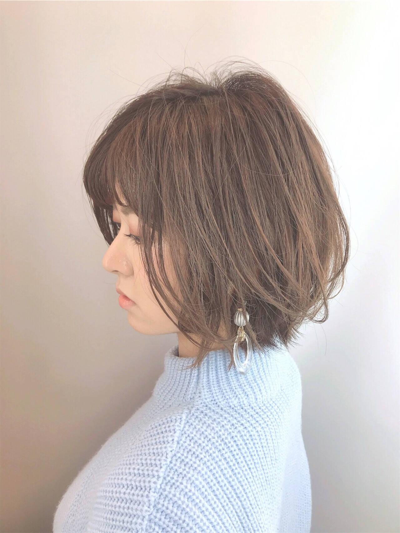 小顔 大人グラボブ コンサバ 美シルエットヘアスタイルや髪型の写真・画像