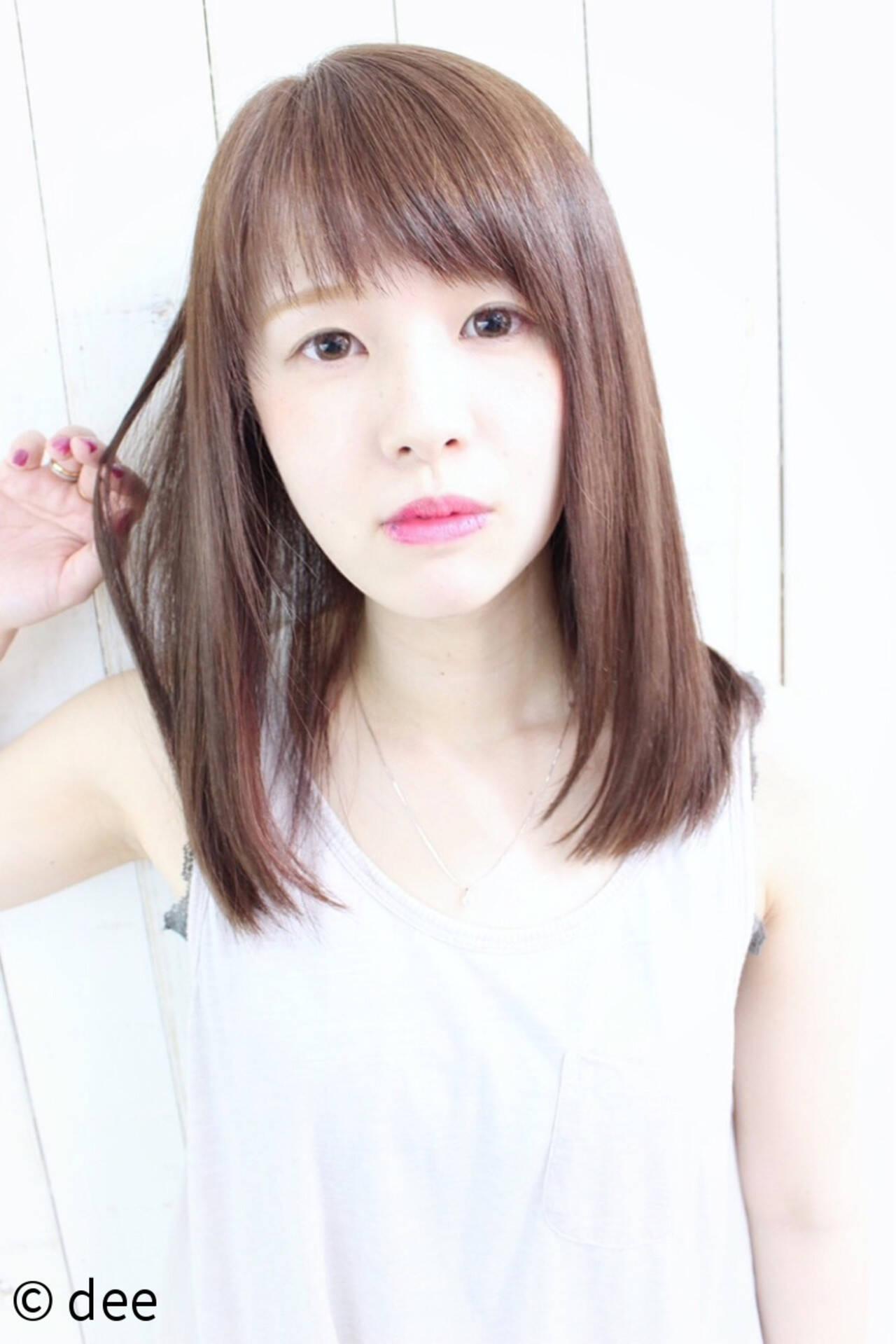 縮毛矯正 ナチュラル ストレート シースルーバングヘアスタイルや髪型の写真・画像