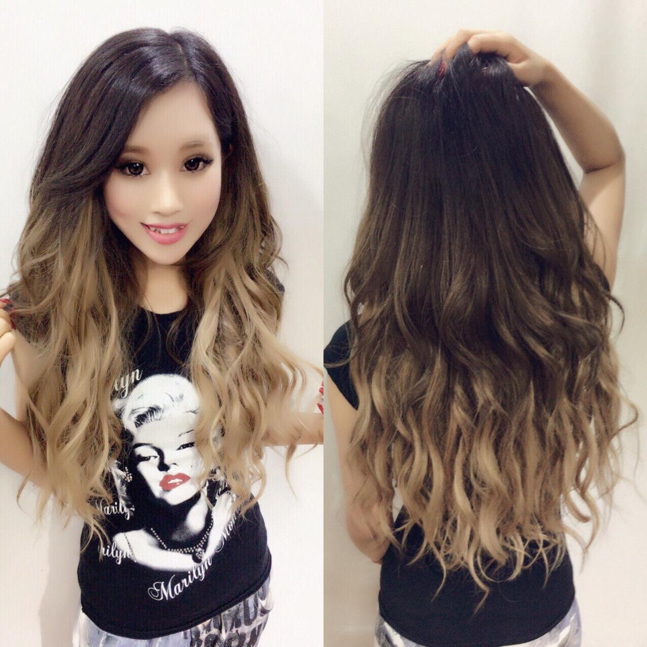 ロング ガーリー 外国人風カラー バレイヤージュヘアスタイルや髪型の写真・画像