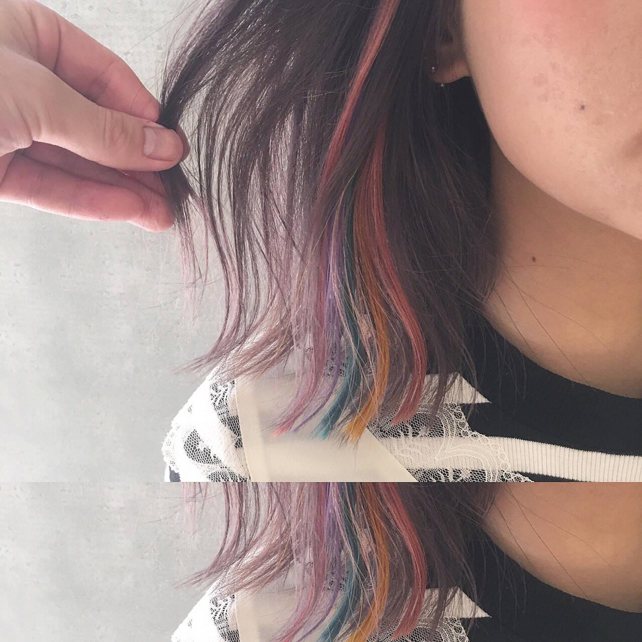 黒髪 ボブ フリンジバング インナーカラーヘアスタイルや髪型の写真・画像
