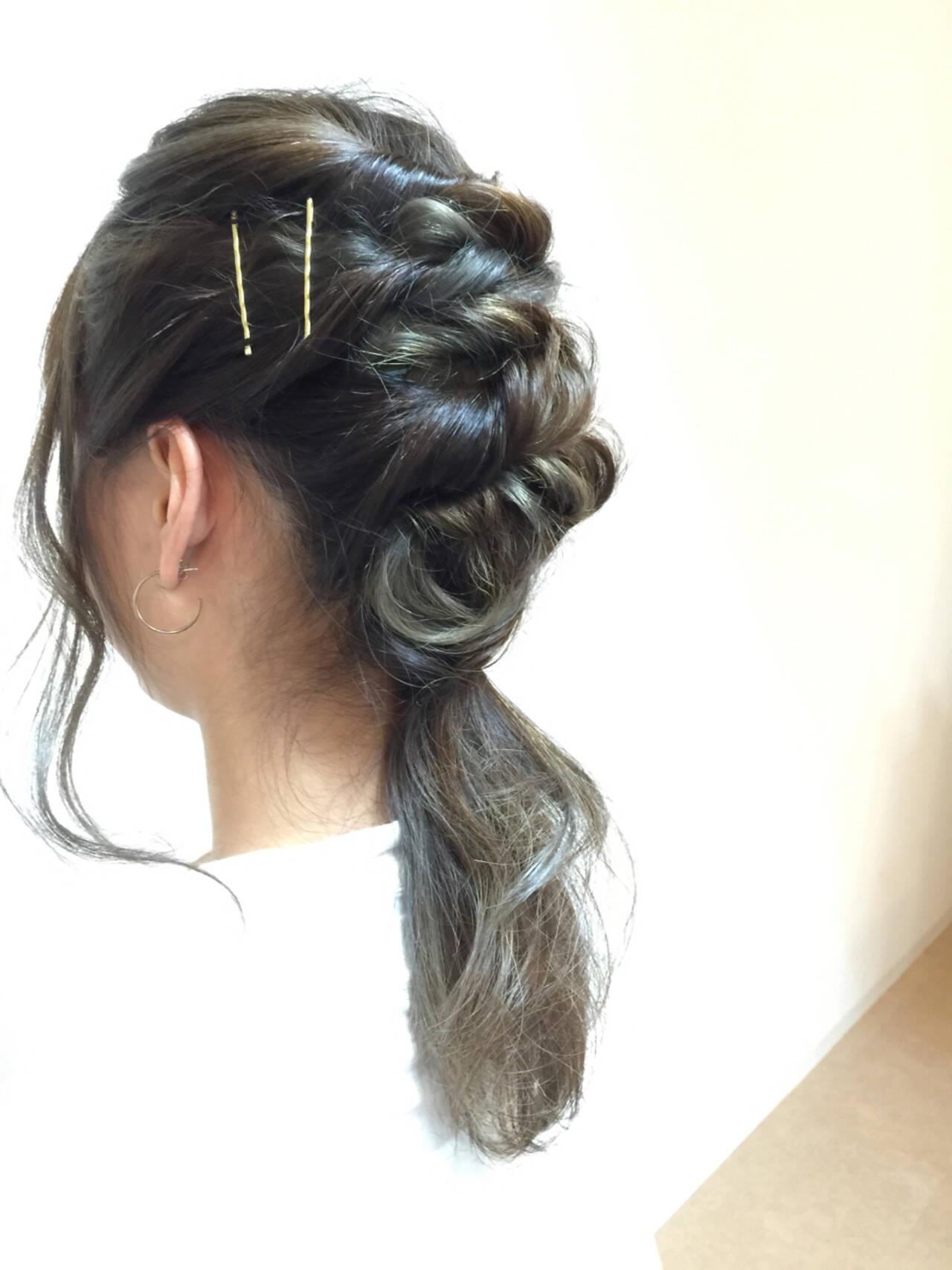 ゆるふわ ミディアム ストリート 簡単ヘアアレンジヘアスタイルや髪型の写真・画像