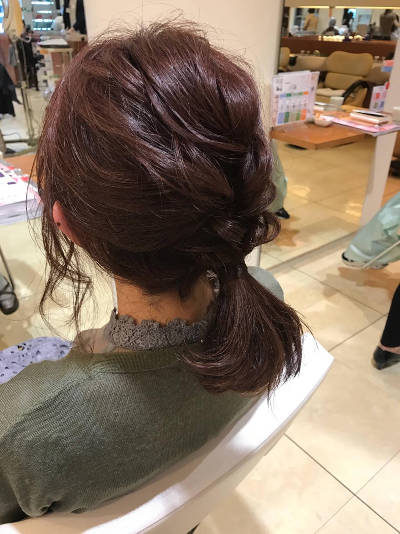 編み込み 結婚式 簡単ヘアアレンジ ボブヘアスタイルや髪型の写真・画像
