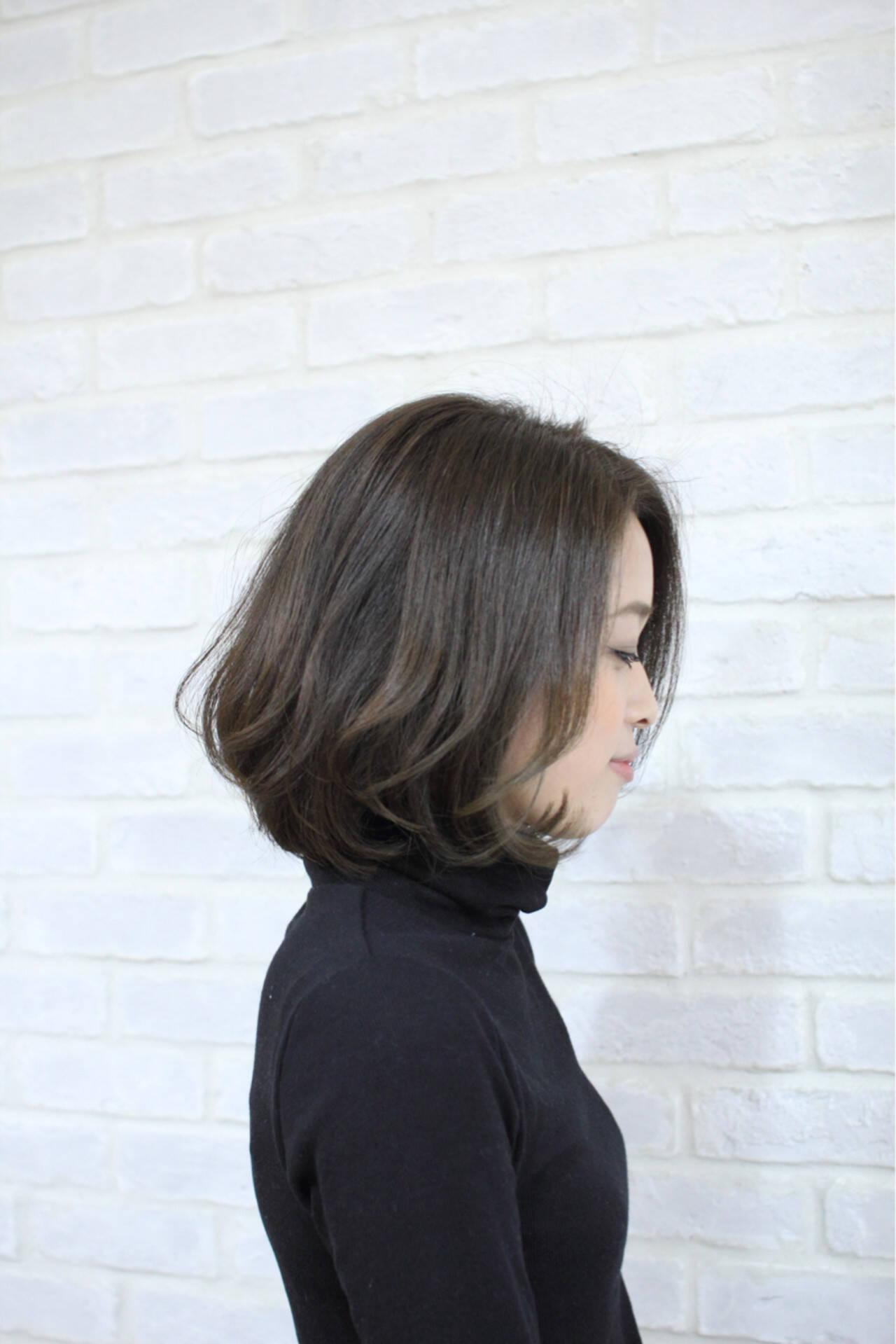 ワンカール ボブ 大人かわいい ナチュラルヘアスタイルや髪型の写真・画像
