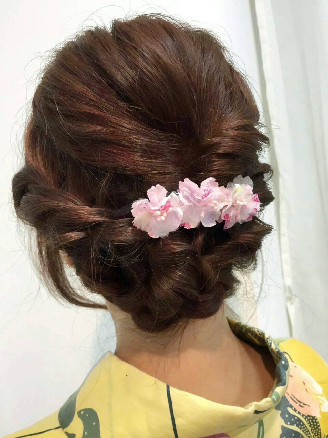 セミロング お祭り まとめ髪 モテ髪ヘアスタイルや髪型の写真・画像