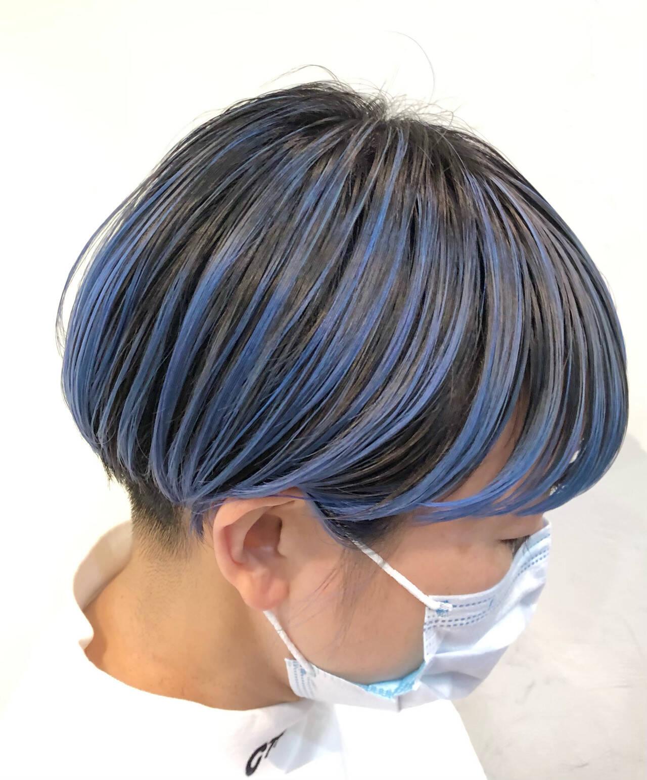 ストリート ショート ハイトーンカラー インナーカラーヘアスタイルや髪型の写真・画像