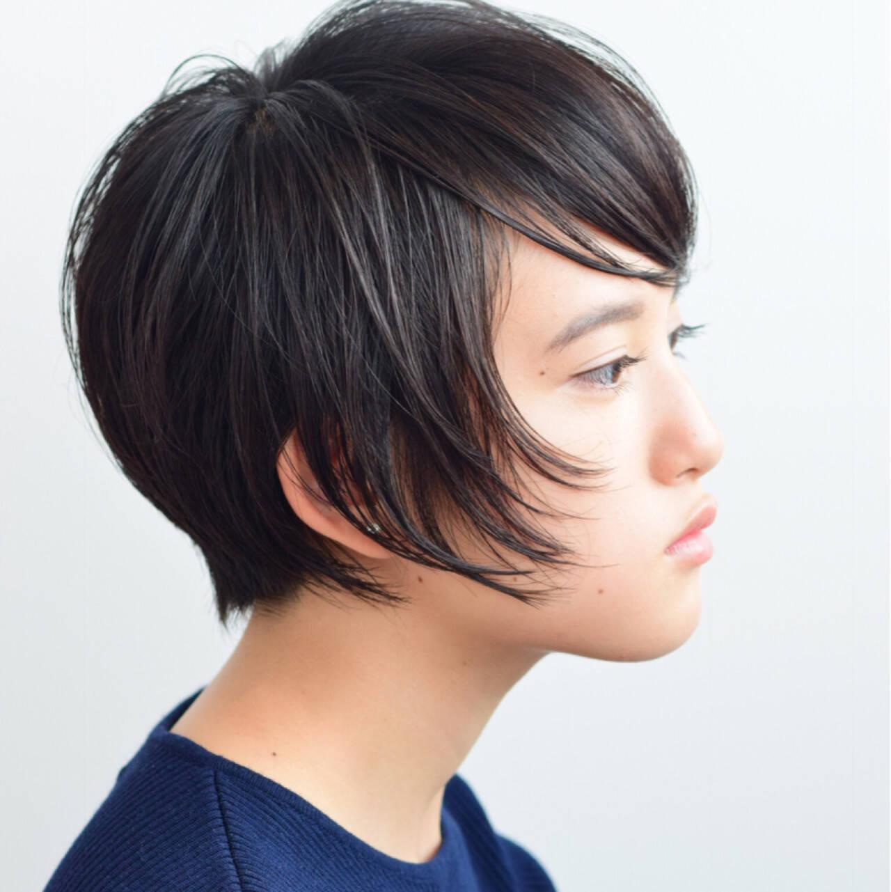 大人女子 ショート モード 黒髪ヘアスタイルや髪型の写真・画像