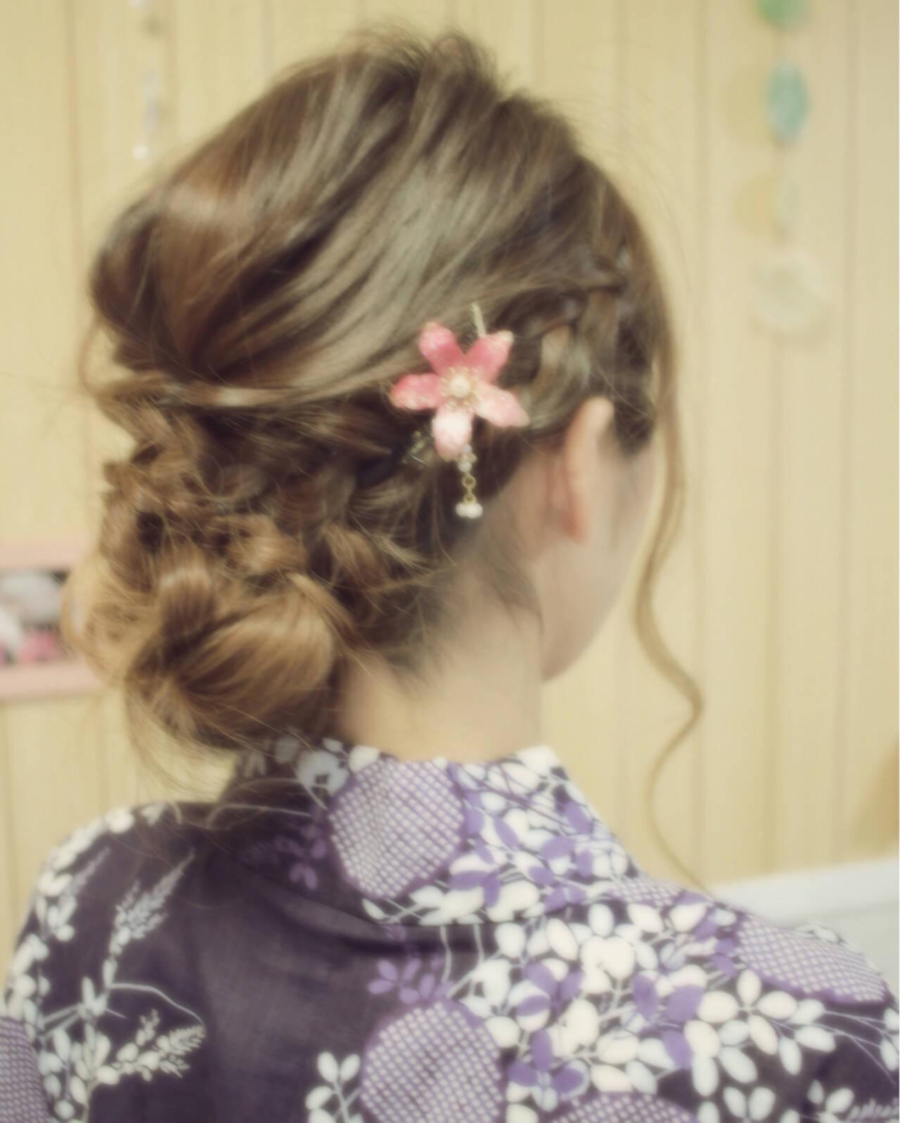 夏 セミロング 簡単ヘアアレンジ お祭りヘアスタイルや髪型の写真・画像