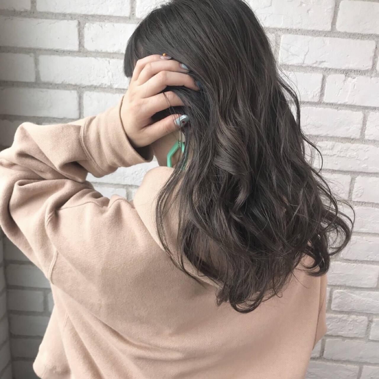 秋 透明感 セミロング マットヘアスタイルや髪型の写真・画像