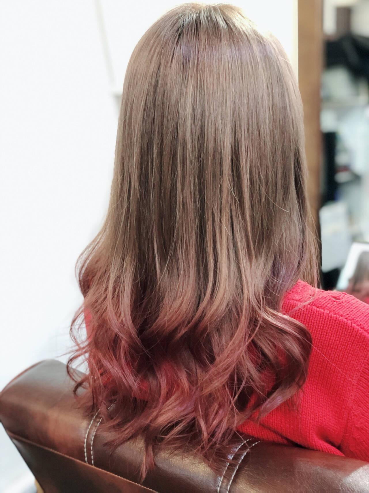 簡単ヘアアレンジ グラデーションカラー ストリート ヘアアレンジヘアスタイルや髪型の写真・画像
