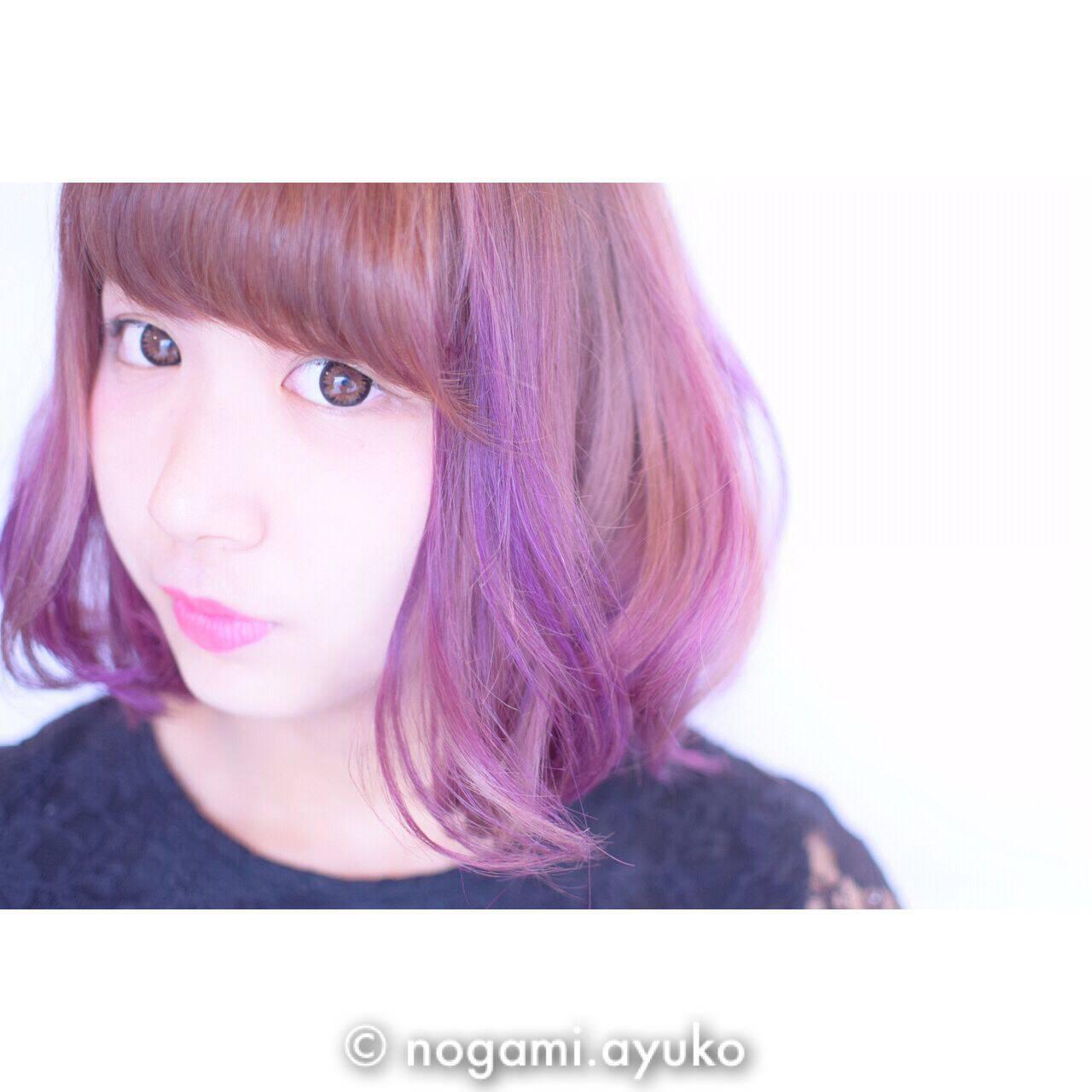 カラーバター ピンク ブラウン パープルヘアスタイルや髪型の写真・画像