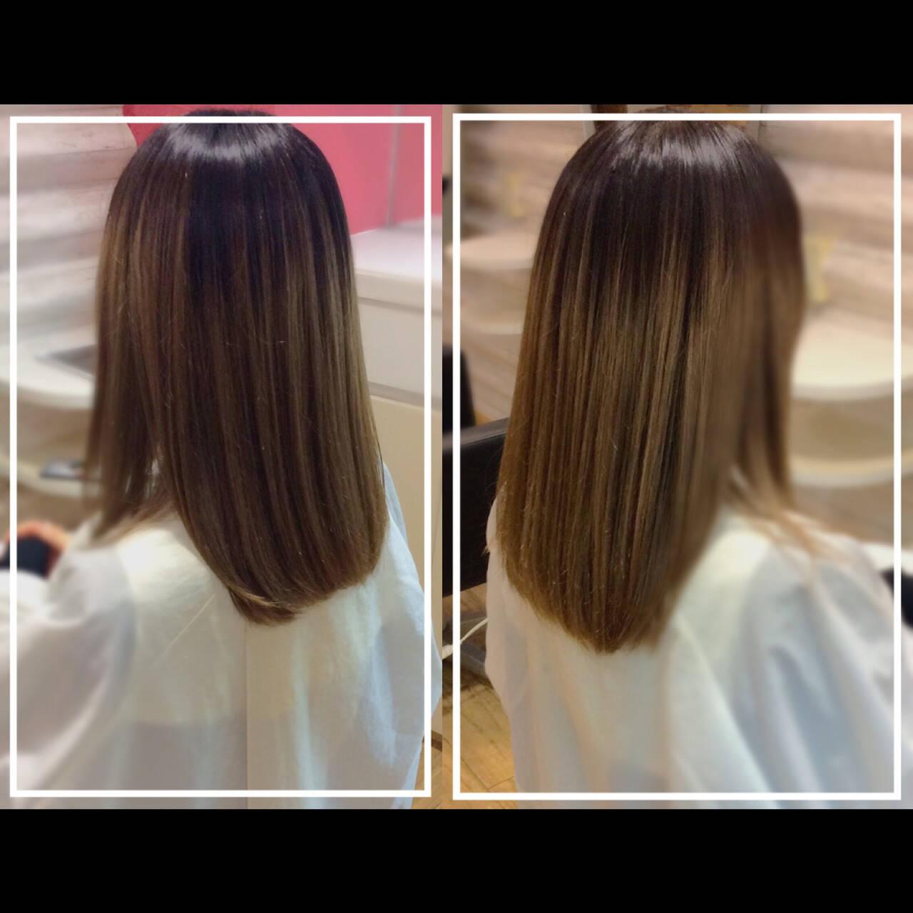 ハイトーンカラー 髪質改善 バレイヤージュ 髪質改善カラーヘアスタイルや髪型の写真・画像
