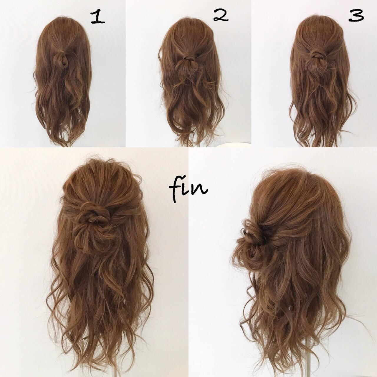 結婚式 簡単ヘアアレンジ ロング ナチュラルヘアスタイルや髪型の写真・画像