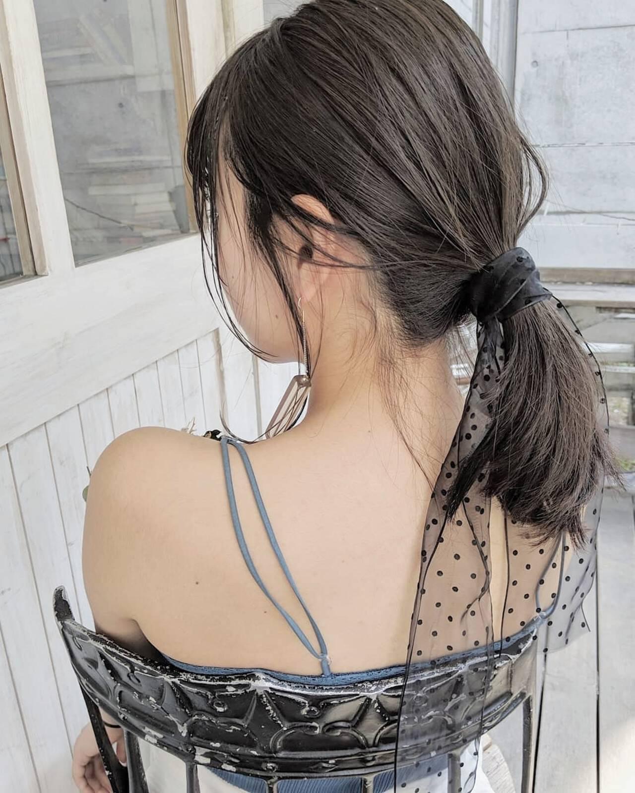 ヘアアレンジ ガーリー ミディアム デートヘアスタイルや髪型の写真・画像