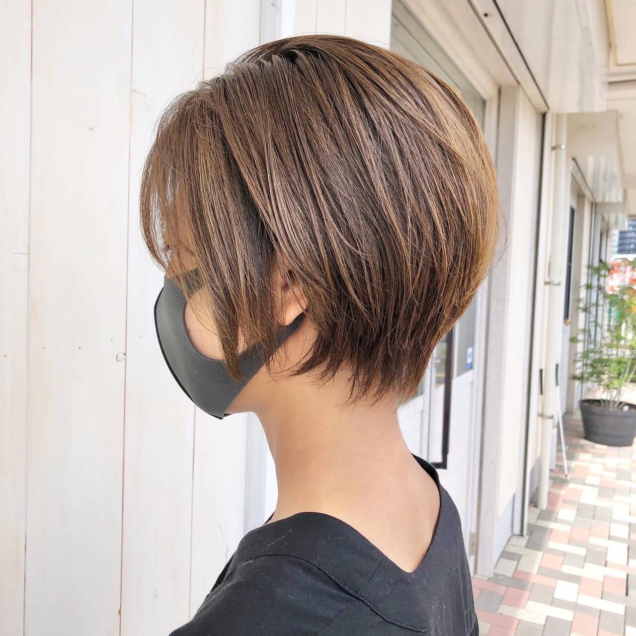 丸みショート ナチュラル コンパクトショート ショートカットヘアスタイルや髪型の写真・画像