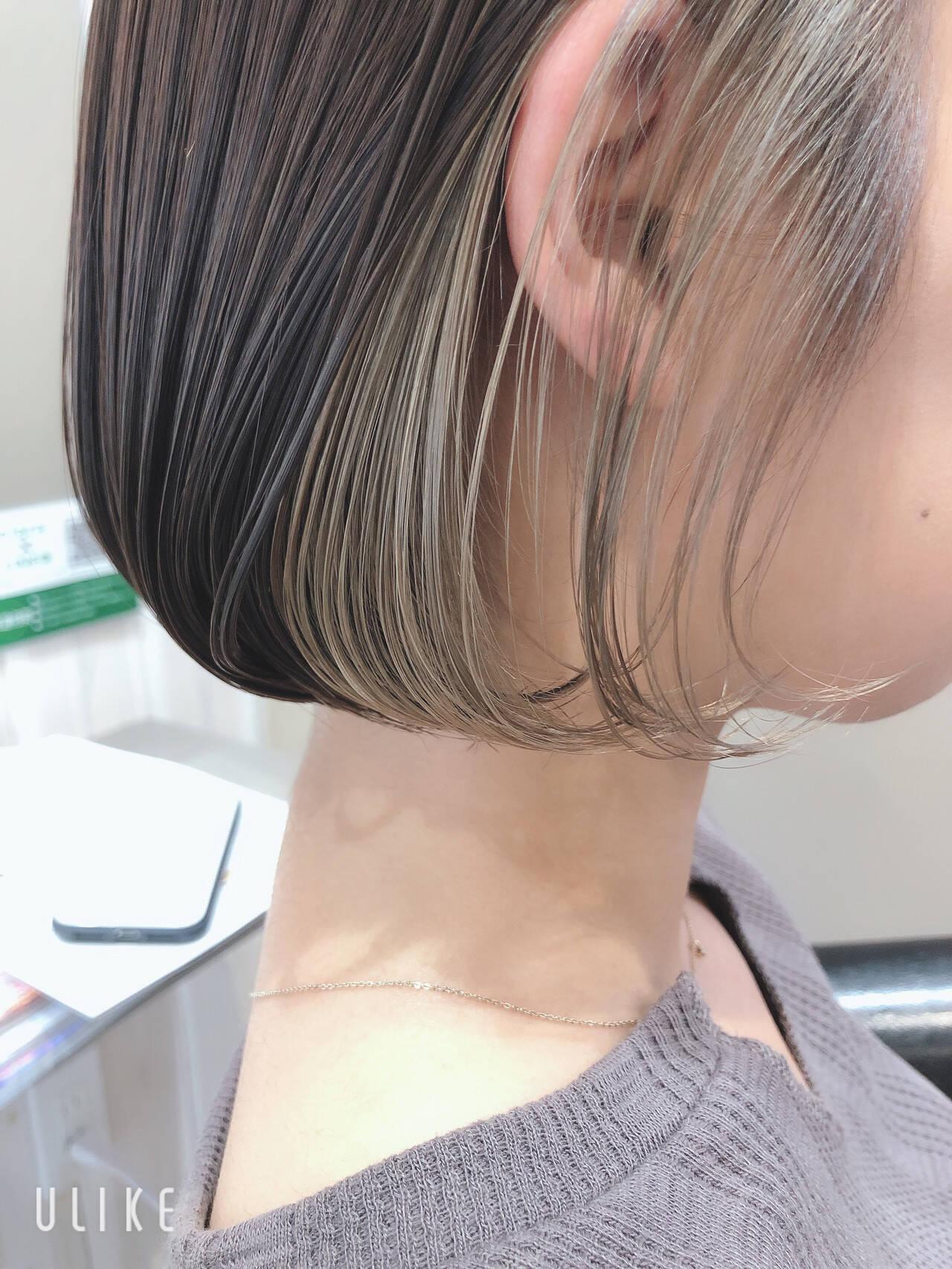 インナーカラー ショートボブ ミニボブ ボブヘアスタイルや髪型の写真・画像